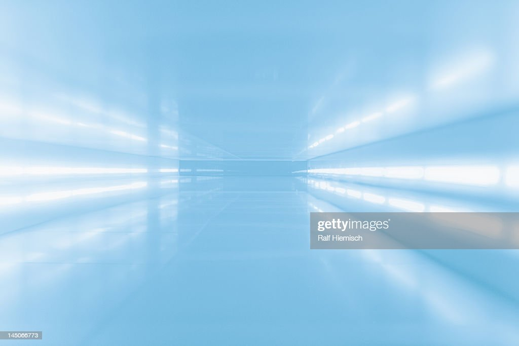 An abstract corridor in blue tones