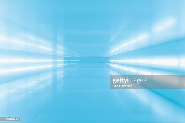 An abstract corridor in blue tones