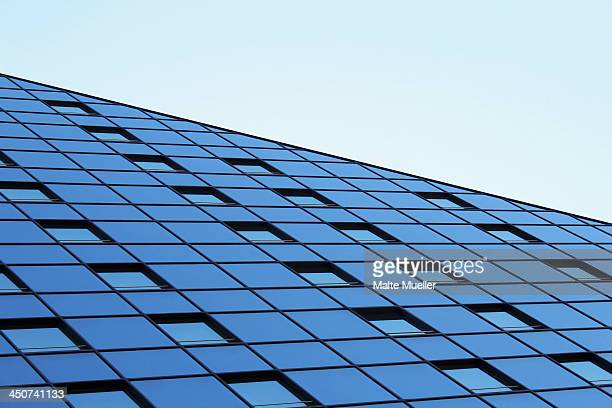 An abstract view of the slant of a building