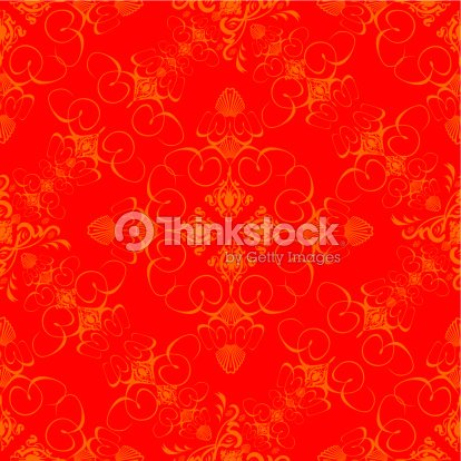 An Abstract Wallpaper Design Done In The Old Fashioned Style Red And Orange Stock