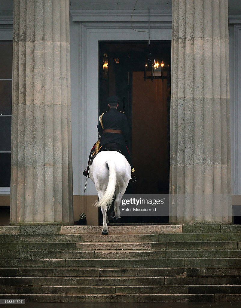 An Academy Adjutant rides his horse Winston up the steps into the Old College after completion of the Sovereign's Parade at the Royal Military Academy at Sandhurst on December 14, 2012 in England. The parade marks the completion of 44 weeks of training for 200 young people who will be commissioned into the British Army and the armies of 13 overseas countries. Senior Under Officer Sarah Hunter-Choat became the fourth woman in the Royal Military Academy's history to receive the prestigious Sword of Honour which is awarded to the best Officer Cadet on the course.