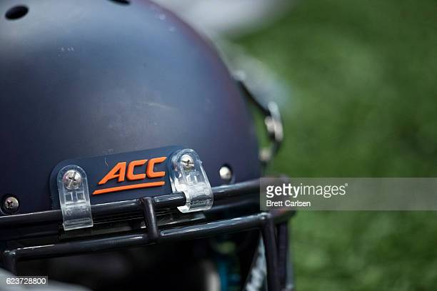 An ACC logo on the front of a Syracuse Orange helmet before the game against the North Carolina State Wolfpack on November 12 2016 at The Carrier...