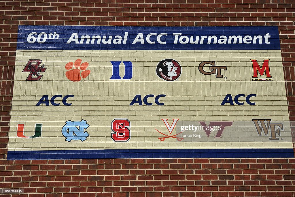 An ACC Tournament wall painting is seen outside the Greensboro Coliseum during the first round of the 2013 Men's ACC Tournament at the Greensboro Coliseum on March 14, 2013 in Greensboro, North Carolina.