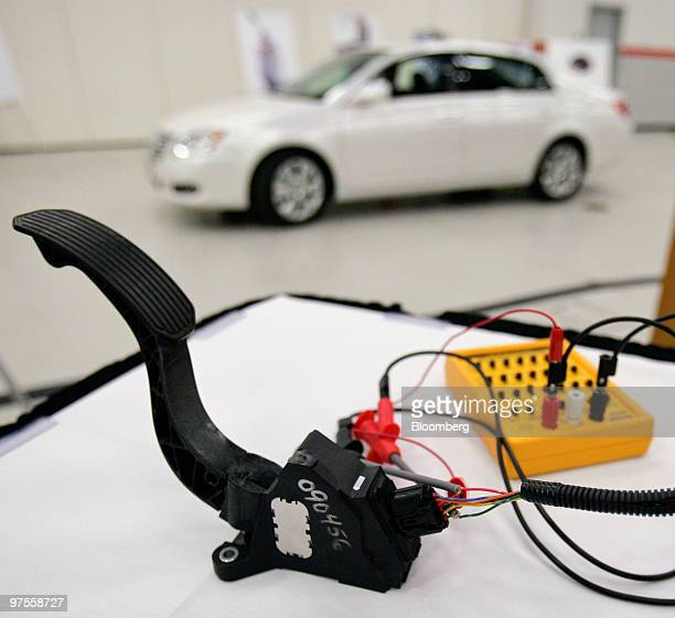 An accelerator pedal from a Toyota Motor Corp vehicle is tested during a news conference at Toyota's US sales headquarters in Torrance California US...