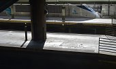 An Acela train is seen on the platform of Union Station on May 13 2015 in Washington DC A New York bound Amtrak train heading from Washington DC...