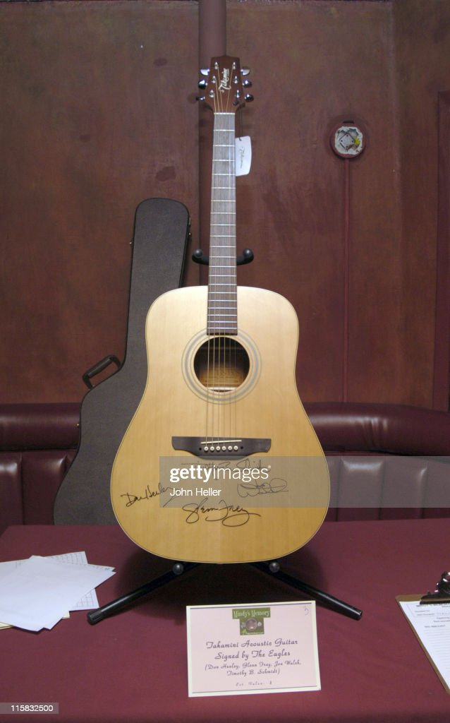 An acoustic guitar, one of the items up for sale during Mindy's Memory Primate Sanctuary Benefit - November 22, 2005 at Laughter Factory in Los Angeles, California, United States.