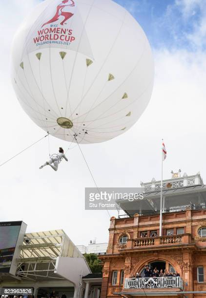An acrobat flys above the players balcony before the ICC Women's World Cup 2017 Final between England and India at Lord's Cricket Ground on July 23...