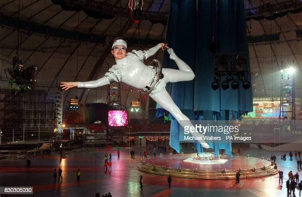 An acrobat goes through her routine on the second of two rehearsal days for the spectacular central area show at the Millennium Dome in Greenwich...