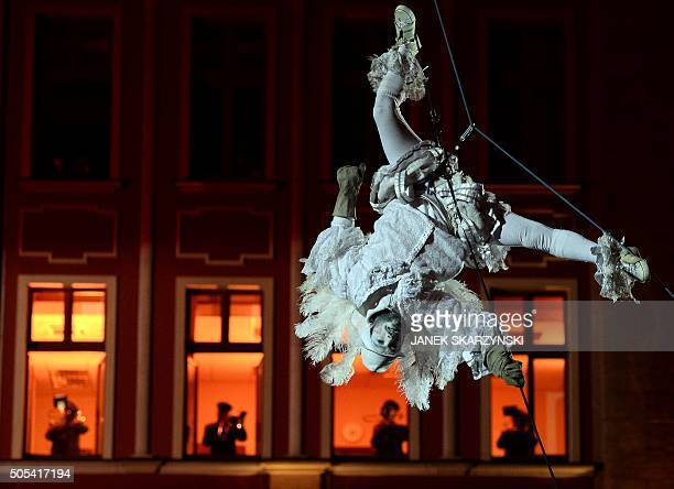 An acrobat performs at the market square in Wroclaw on January 17 2016 to officially mark the inauguration of the city as the 2016 European Capital...
