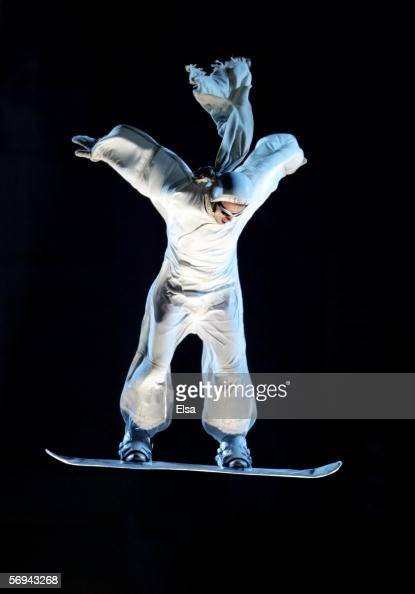 An acrobat performs during the Closing Ceremony of the Turin 2006 Winter Olympic Games on February 26 2006 at the Olympic Stadium in Turin Italy