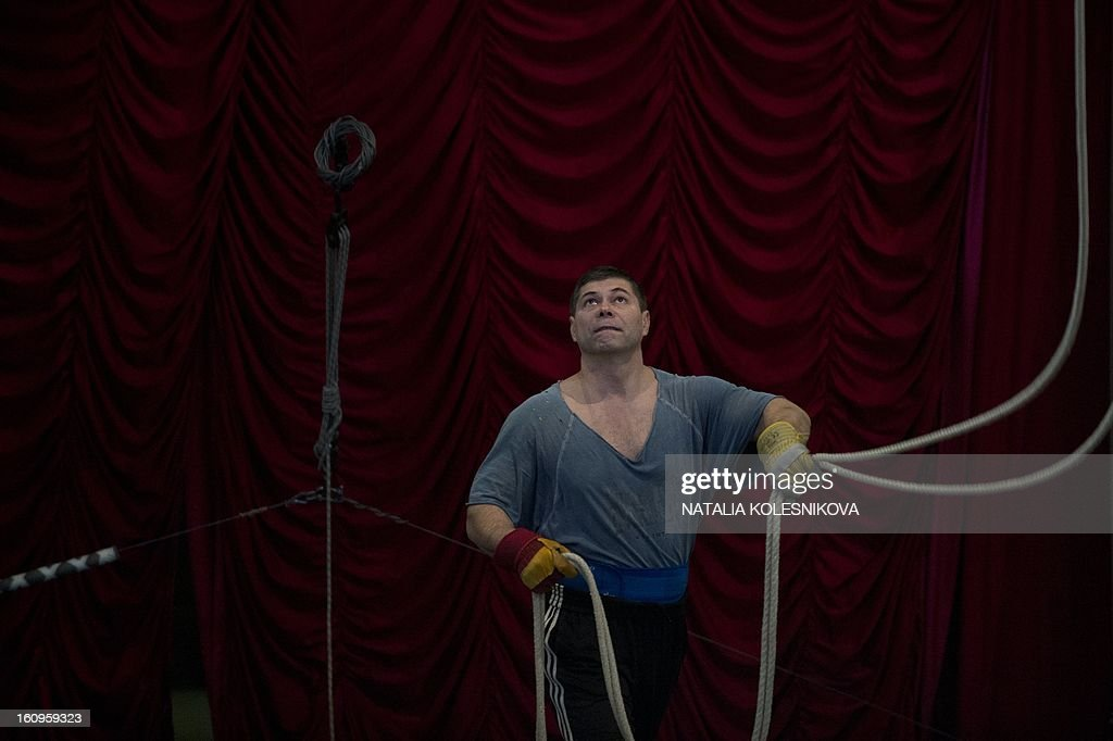An acrobat rehearses in a circus in the Russian Black Sea resort of Sochi, on February 8, 2013.