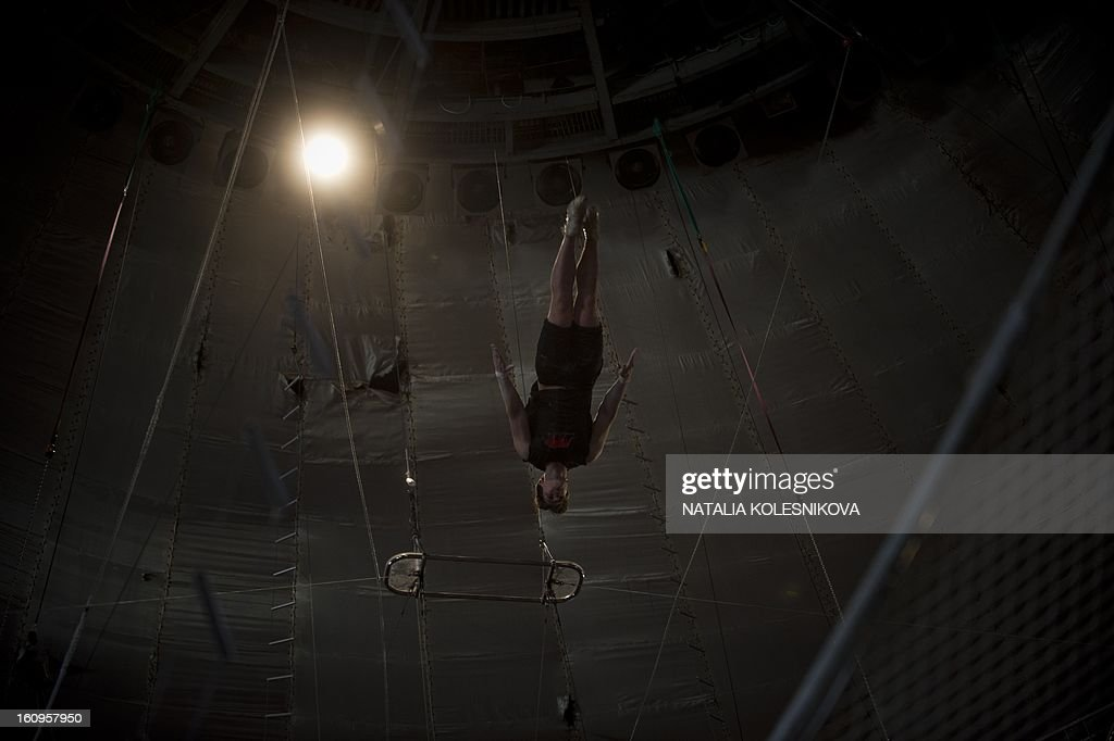 An acrobat rehearses in circus in the Russian Black Sea resort of Sochi, on February 8, 2013.