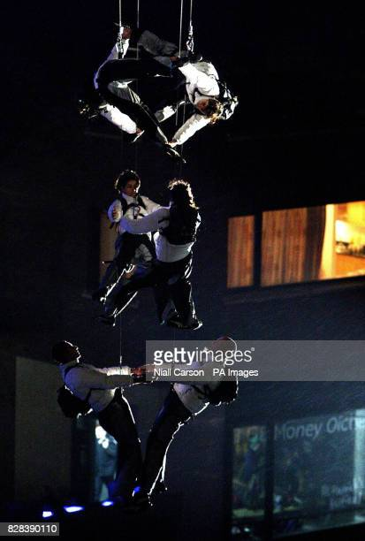 An acrobatic show by world famous Spanish troop Grupo Puja during the official launch of the St Patrick's festival at Smithfield square in central...