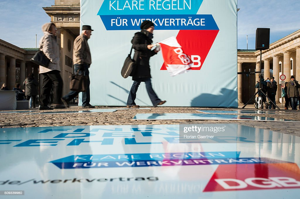 An action of the German Confederation of Trade Unions (DGB - Deutscher Gewerkschaftsbund) on February 10, 2016 in Berlin. The action picks out as a central theme the conditions of service contracts.