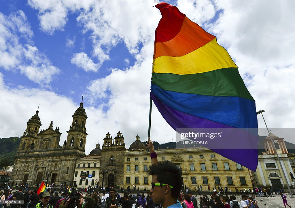 An activist holds a rainbow flag during a protest by the lesbian gay transgender and bisexual community demanding for their rigths including gay...