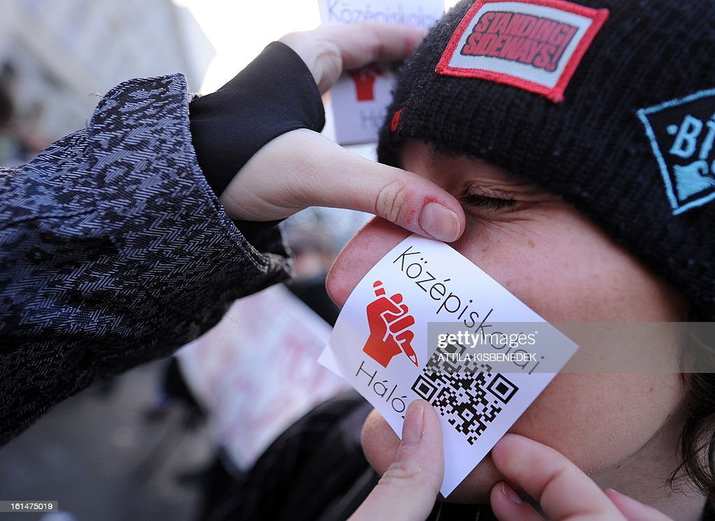 An activist pastes an emblem of their community the 'Network of the High Schools' in Budapest's on February 11, 2013 prior to their march and demonstration to protest against the Hungarian government's education policy.