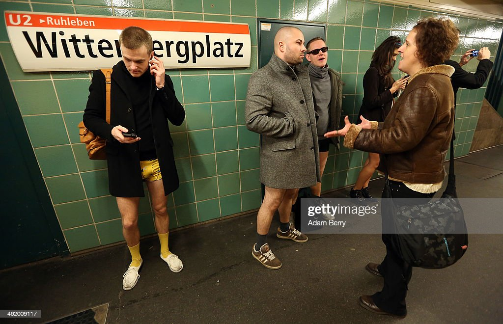 An activist shouts at participants of the No Pants Subway Ride because she feels their 'cause' is not as important as her own on January 12 2014 in...