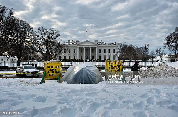 An activist sits at a protest sight in Lafayette Park across from the White House January 26 2016 in Washington DC Concepcion Picciotto the protester...