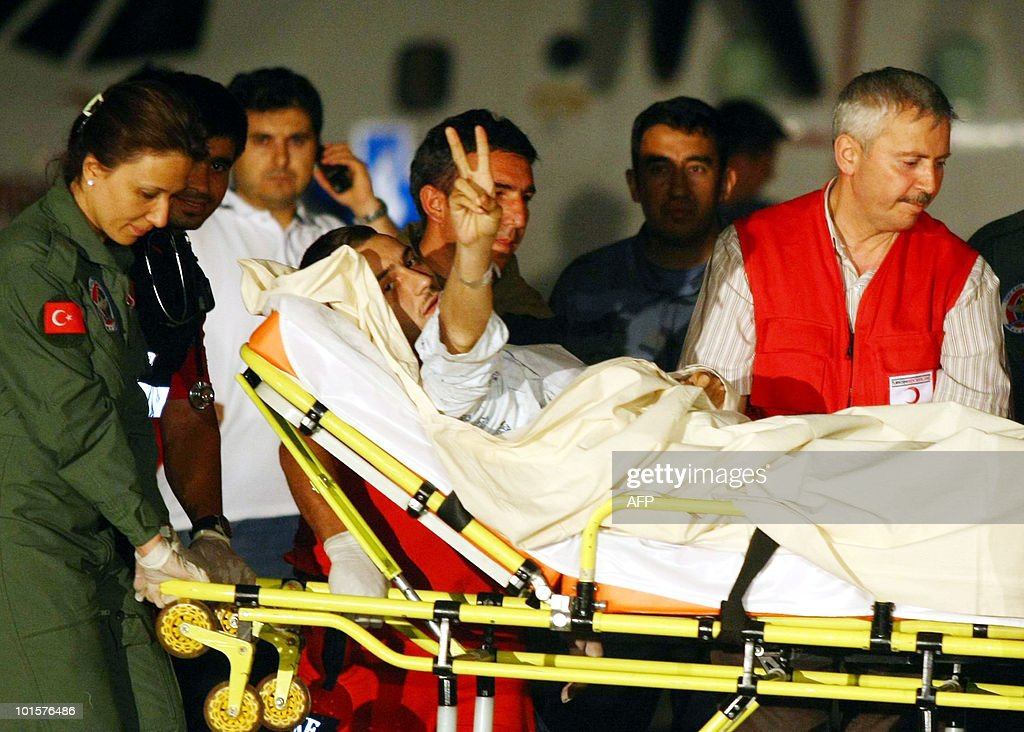 An activist who was expelled from Israel, is taken to a hospital in Ankara on June 3, 2010 after arriving from Israel. Turkey began flying wounded activists from Israel Wednesday in a large-scale repatriation operation after an Israeli raid on Gaza-bound aid ships that claimed nine lives and sparked global outrage.