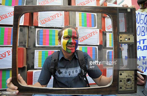 An activist with his painted face takes part in protest against censorship in downtown Kiev on August 26 2010 The protesters mainly journalists and...