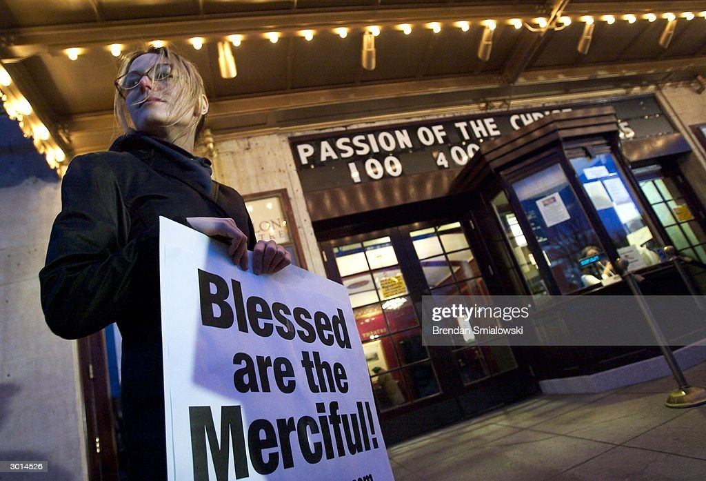 An activist with People for the Ethical Treatment of Animals (PETA) protests at the Avalon Theater during the premiere of Mel Gibson's 'The Passion of the Christ' February 25, 2004 in Washington, DC. PETA was protesting treatment of animals in the making of the movie.