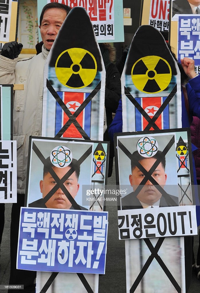 An activists from an anti-North Korea civic group shouts during a protest against North Korea nuclear test, in Seoul on February 12, 2013.North Korea staged its most powerful nuclear test yet, claiming a breakthrough with a 'miniaturised' device in a striking act of defiance to global powers including its sole patron China..