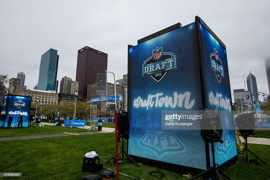 An activity at the NFL Draft Town is put up prior to the start of the 2016 NFL Draft on April 28, 2016 in Chicago, Illinois.