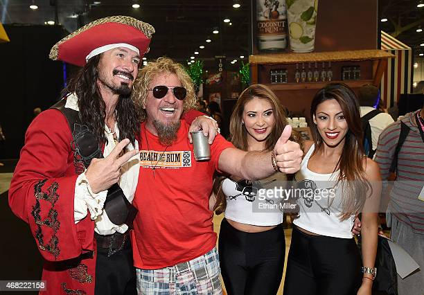 An actor as brand icon 'Captain Morgan' recording artist Sammy Hagar and promotional models the Morganettes attend the 30th annual Nightclub Bar...