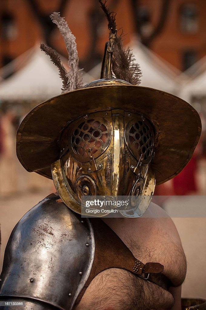 An actor dressed as ancient gladiators march in a commemorative parade during festivities marking the 2,766th anniversary of the founding of Rome on April 21, 2013 in Rome, Italy. The capital celebrates its founding annually based on the legendary foundation of the Birth of Rome. Actors dressed as the denizens of ancient Rome participate in parades and re-enactments of the ancient Roman Empire. According to legend, Rome had been founded by Romulus in 753 BC in an area surrounded by seven hills.