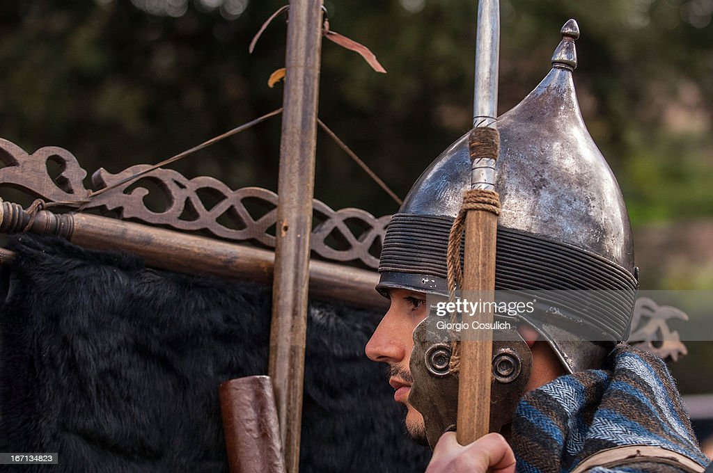 An actor dressed as ancient Persian soldier gets ready to march in a commemorative parade during festivities marking the 2,766th anniversary of the founding of Rome on April 21, 2013 in Rome, Italy. The capital celebrates its founding annually based on the legendary foundation of the Birth of Rome. Actors dressed as the denizens of ancient Rome participate in parades and re-enactments of the ancient Roman 753 BC in an area surrounded by seven hills.