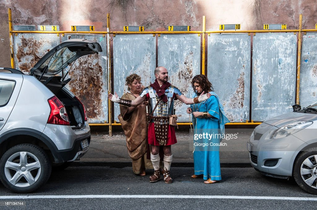 An actor dressed as ancient Roman soldier gets ready to march in a commemorative parade during festivities marking the 2,766th anniversary of the founding of Rome on April 21, 2013 in Rome, Italy. The capital celebrates its founding annually based on the legendary foundation of the Birth of Rome. Actors dressed as the denizens of ancient Rome participate in parades and re-enactments of the ancient Roman Empire. According to legend, Rome had been founded by Romulus in 753 BC in an area surrounded by seven hills.