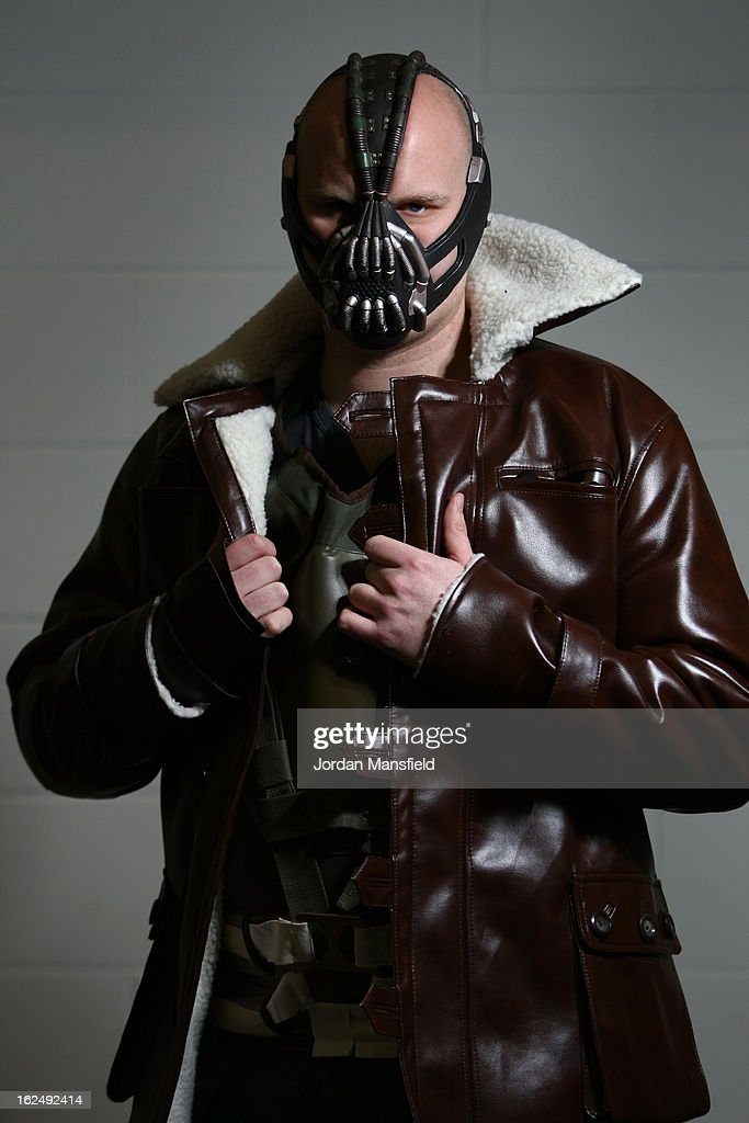 An actor dressed as Bane from the film Batman poses for a photo at the London Super Comic Convention at the ExCeL Centre on February 23 2013 in...