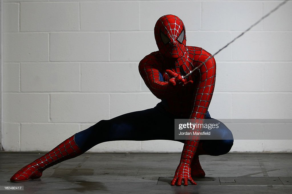 An actor dressed as Spiderman poses for a photo at the London Super Comic Convention at the ExCeL Centre on February 23, 2013 in London, England. Enthusiasts at the Comic Convention are encouraged to wear a costume of their favourite comic character and flock to the ExCeL to gather all the latest news in the world of comics, manga, anime, film, cosplay, games and cult fiction.