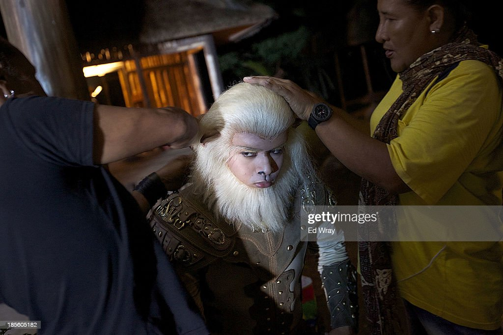 An actor performing as the one of the title characters, Ciung, half man, half monkey is seen during the production of Ciung Wanara, one of the many Indonesian soap operas based on traditional Indonesian legends on October 21, 2013 in Cileungsi, Indonesia. The stories often involving kings, dragons, evil ministers, witches, gods and heroes, which were traditionally performed as shadow puppet plays and by professional storytellers, have a huge audience who have embraced the complex stories, much as western audiences have taken to the fictional intrigue of Game of Thrones.