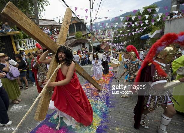 An actor represents the Passion of Christ during Holy Week celebrations in San Bernabe Ocotepec Mexico on April 2 2010 About 10000 people attended on...