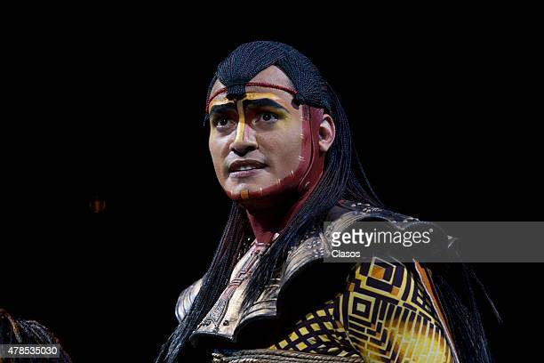 An actors performs during the presentation of The Lion King The Musical at Telcel Theatre on April 27 2015 in Mexico City Mexico