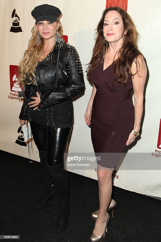 An actress Cindy Valentine and Paula Salvatore attend the producers & engineers wing of the recording Academy's 6th Annual GRAMMY Event 'An Evening Of Jazz' at The Village Recording Studios on February 6, 2013 in Los Angeles, California.