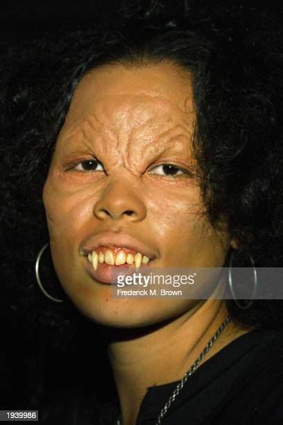 An actress dressed as a vampire character of the television show 'Buffy the Vampire Slayer' attends the cast party at Miauhaus on April 18 2003 in...