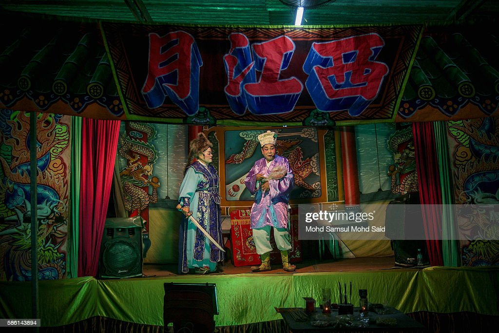 An actress perform a Chinese Opera during the Hungry Ghost Festival on August 5, 2016 in Kuala Lumpur, Malaysia. The Hungry Ghost Festival falls on the 15th day of the seventh lunar month. According to traditional Chinese belief, the seventh month in the lunar calendar is when restless spirits roam the earth. Many Chinese people make efforts to appease these transient ghosts, while feeding their own ancestors particularly on the 15th day, which is the Yu Lan or Hungry Ghost Festival.
