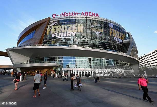 An ad for the annual 'Frozen Fury' preseason NHL games is shown on TMobile Arena's video mesh wall before a preseason game between the Colorado...