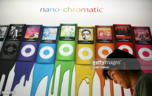 An ad showing the the new iPod Nano is displayed during an Apple special event September 9 2008 in San Francisco California Apple CEO Steve Jobs...