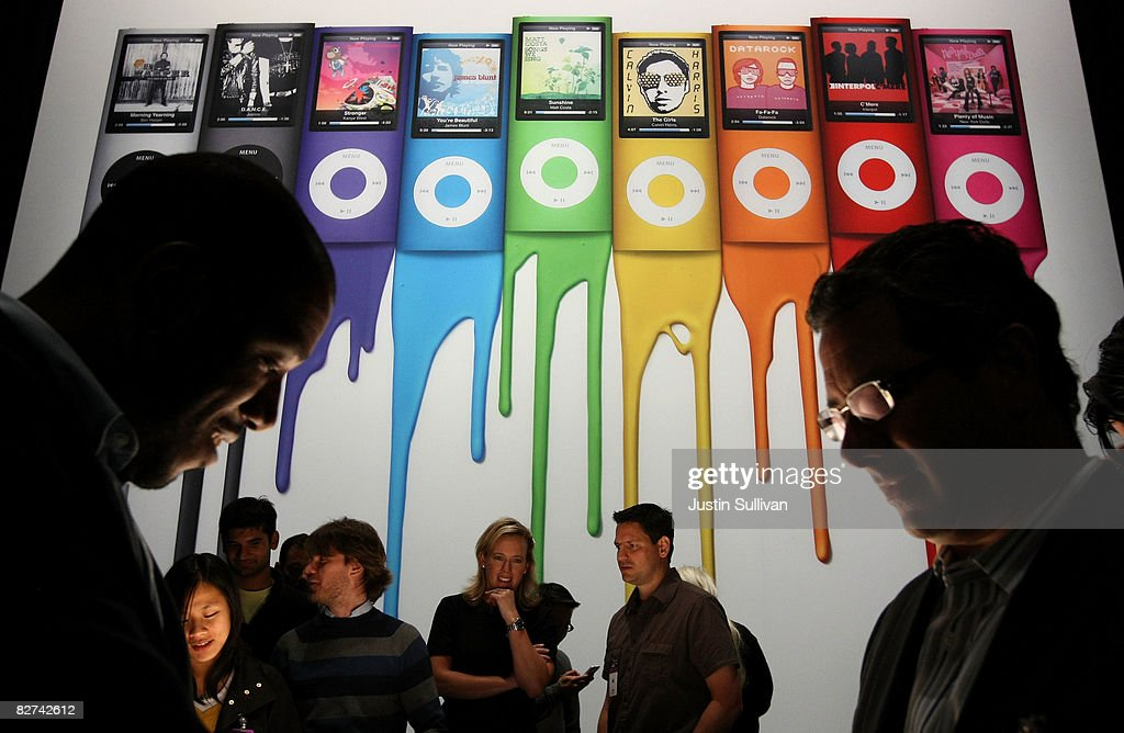 An ad showing the the new iPod Nano is displayed during an Apple special event September 9, 2008 in San Francisco, California. Apple CEO Steve Jobs announced a new version of the popular iTunes software new versions of the iPod Nano and Touch.