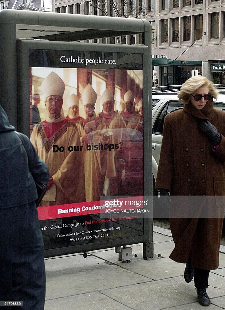 An ad sponsered by Catholics for a Free Choice advocationg condom use to prevent AIDS is shown at a bus shelter 03 January 2002 in Washington DC...