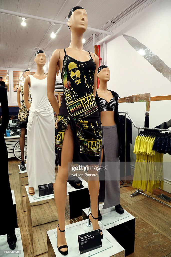 An Adam Selman Bob Marley Dress as worn by Rihanna on Saturday Night Live 2012 on display at the Opening Ceremony RIHtrospective: Seven Rihanna Fashion Moments at Opening Ceremony on March 4, 2013 in New York City.
