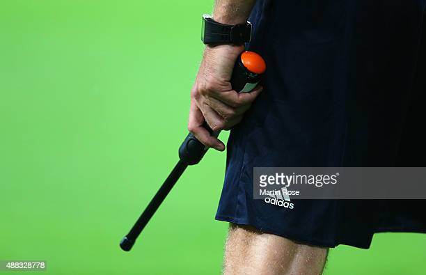 An additional assitant referee during the UEFA Champions League Group B match between VfL Wolfsburg and PFC CSKA Moskva at Volkswagen Arena on...