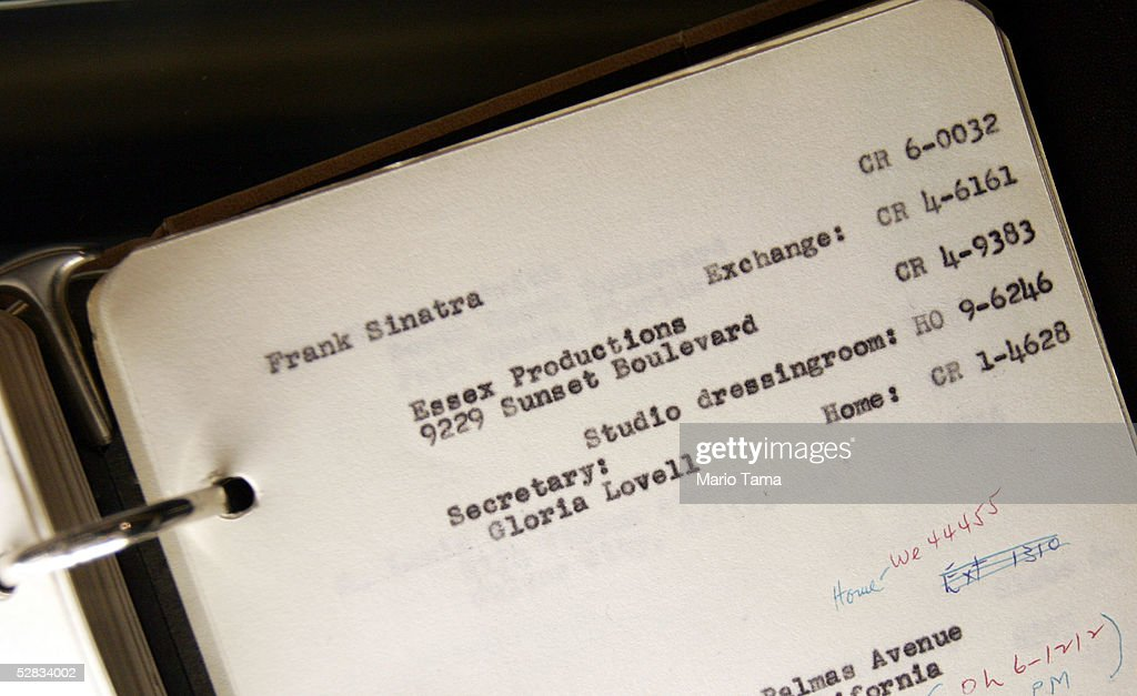 An address book from the estate of actress Marilyn Monroe is seen with Frank Sinatra's address during a press preview in Planet Hollywood May 16, 2005 in New York City. Over 200 personal and professional items will be offered in the June 4 sale.
