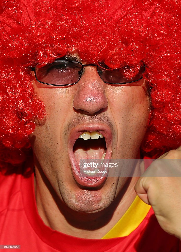 An Adelaide United fan shows his support during the round 24 A-League match between the Melbourne Heart and Adelaide United at AAMI Park on March 11, 2013 in Melbourne, Australia.