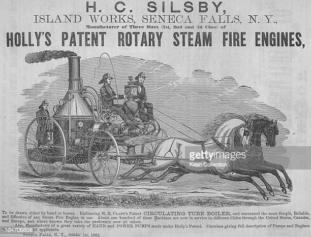 An advert for Holly's patent rotary steam fire engine circa 1865