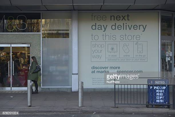 An advert for the Marks and Spencer 'Click and Collect' service in Manchester England on Monday 7th December 2015