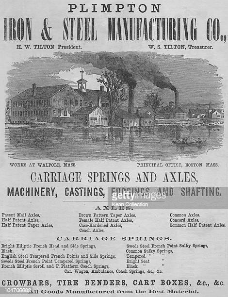 An advert for the Plimpton Iron and Steel Manufacturing Company showing the works in Walpole Massachusetts circa 1865